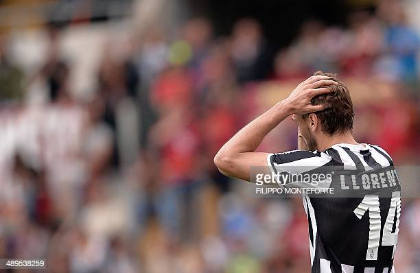 Juventus' Spanish foward Fernando Torres Llorente reacts during the Italian Serie A football match on May 11 2014 at Rome's Olympic stadium AFP PHOTO...