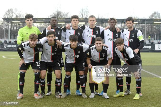 Juventus starting eleven team prior to the UEFA Youth League match between Juventus U19 and Atletico Madrid U19 on November 26 2019 in Vinovo Italy
