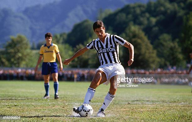 Juventus striker Ian Rush takes a penalty during a pre season friendly in August 1987 in Turin Italy