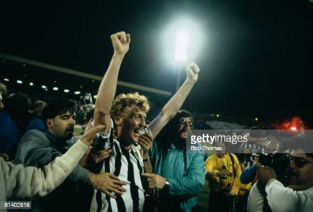 Juventus striker Zbigniew Boniek celebrates after their 10 victory over Liverpool in the European Cup Final played at the Heysel Stadium in Brussels...