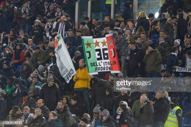 FC juventus supporters during the Italian Serie A football match between SS Lazio and FC Juventus at the Olympic Stadium in Rome on january 27 2019