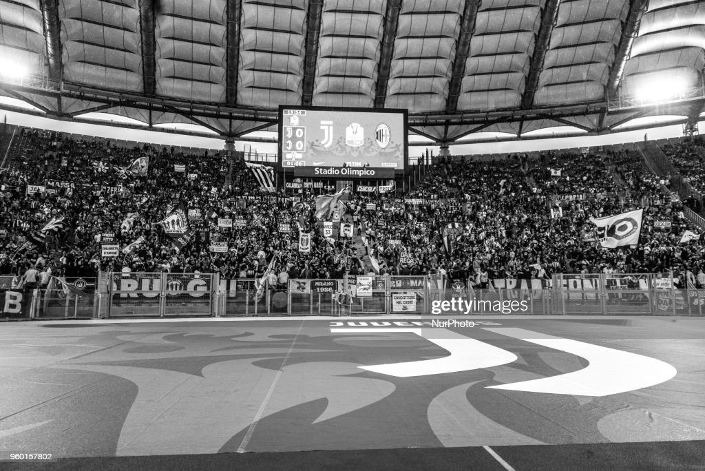 FC Juventus supporters during the Tim Cup Final football match F.C. Juventus vs A.C. Milan at the Olympic Stadium in Rome, on May 09, 2018