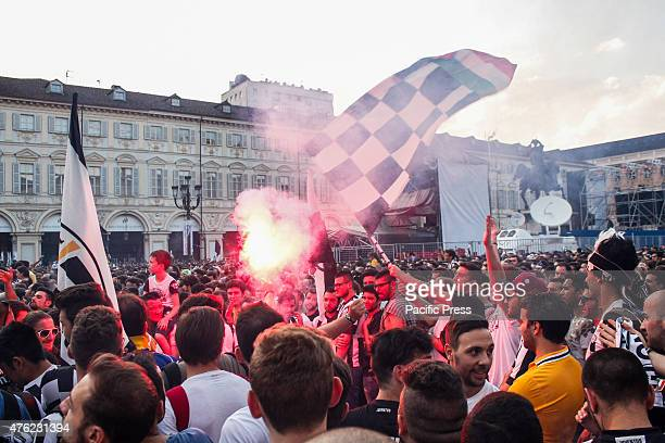 Juventus supporters gather in Turin's San Carlo Square prior to the start of the Champions League final soccer match between Juventus and Barcelona.
