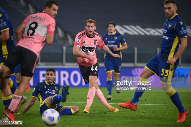 Juventus' Swedish forward Dejan Kulusevski scores a goal during the Italian Serie A football match Juventus vs Verona at the Allianz Stadium in...