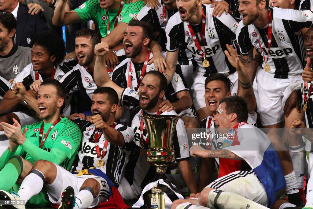 Juventus team celebrates victory after the Coppa Italia final football match JUVENTUS - LAZIO on at the Stadio Olimpico in Rome, Italy.