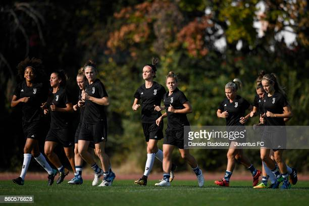 Juventus team during a Juventus Women training session on October 12 2017 in Turin Italy