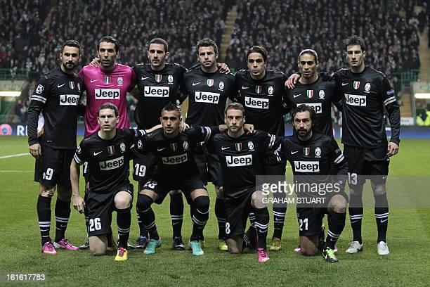Juventus' team group back row from left Mirko Vucinic Gianluigi Buffon Leonardo Bonucci Andrea Barzagli Alessandro Matri Martin Caceres Federico...