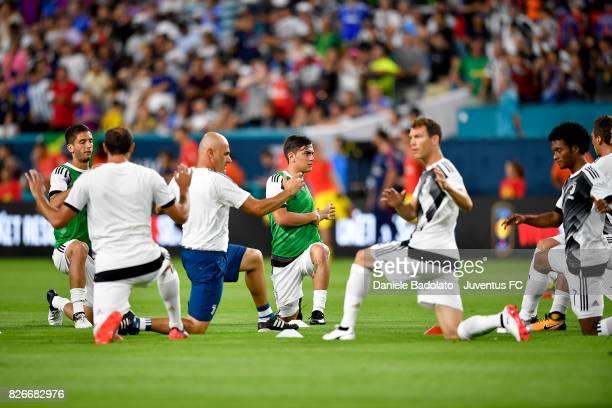 Juventus team in action before the International Champions Cup 2017 match between Paris Saint Germain and Juventus at Hard Rock Stadium on July 26...