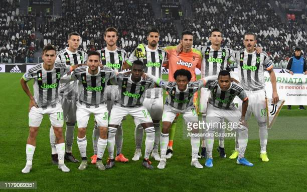 Juventus team line up before the Serie A match between Juventus and Genoa CFC at on October 30 2019 in Turin Italy