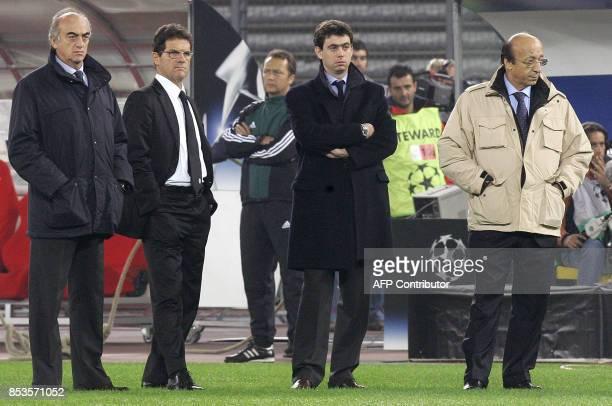 Juventus' team members CEO Antonio Giraudo coach Fabio Capello Vice President Andrea Agnelli and team manager Luciano Moggi are seen before their...