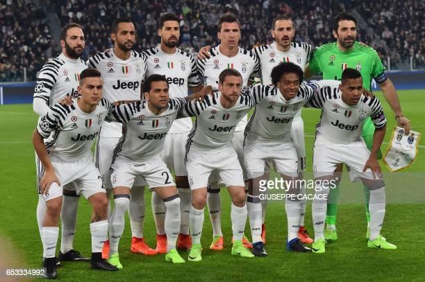 Juventus team players Juventus' forward from Argentina Gonzalo Higuain Juventus' defender Medhi Benatia Juventus' midfielder from Germany Sami...