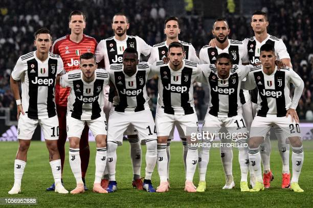 Juventus team poses during the Italian Serie A football match Juventus vs Cagliari on November 3 2018 at the 'Allianz Stadium' in Turin