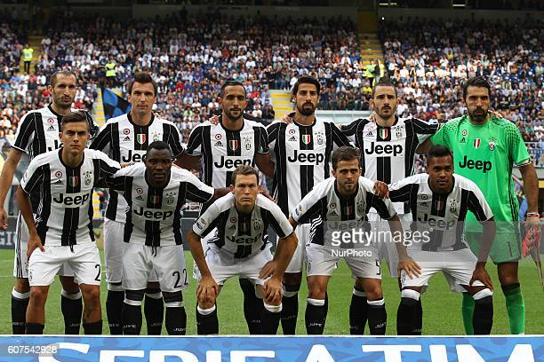 Juventus Team poses in order to be photographed before the Serie A football match n4 INTER JUVENTUS on at the Stadio Giuseppe Meazza in Milan Italy