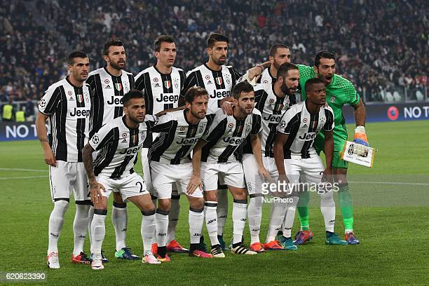 Juventus team poses in order to be photographed before the Uefa Champions League group stage football match n4 JUVENTUS LYON on at the Juventus...