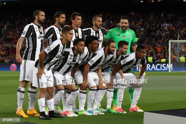 Juventus team poses in order to be photographed before the Uefa Champions League quarter finals football match BARCELONA JUVENTUS on at the Camp Nou...