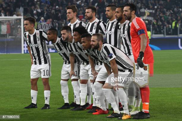 Juventus team poses in order to be photographed before the Uefa Champions League group stage football match n5 JUVENTUS BARCELONA on at the Allianz...