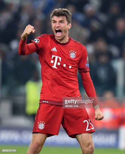Juventus Turin - FC Bayern Muenchen Torjubel nach dem 0:1: Thomas Mueller