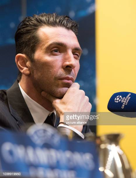 Juventus Turin's goalkeeper Gianluigi Buffon speaks during a press conference of Borussia Dortmund inDrtomuind Germany 17 March 2015 Borussia...
