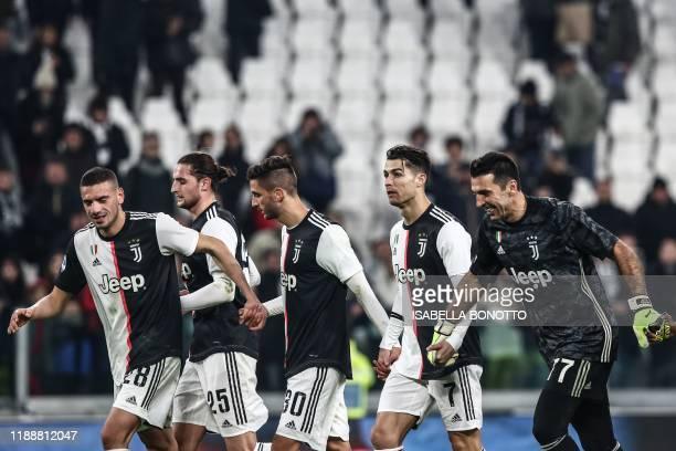 Juventus' Turkish defender Merih Demiral Juventus' French midfielder Adrien Rabiot Juventus' Uruguayan midfielder Rodrigo Bentancur Juventus'...