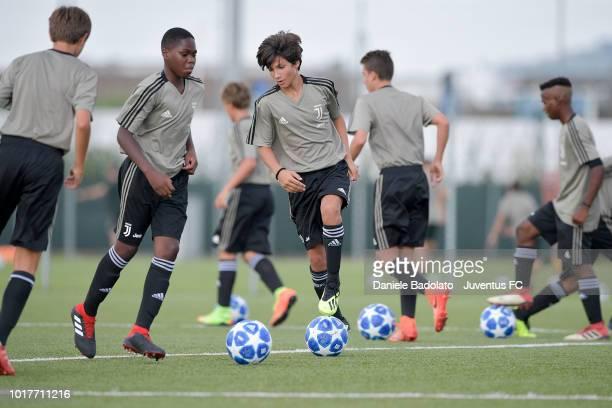 Juventus U14 players during a Juventus training session at Juventus Center Vinovo on August 16 2018 in Vinovo Italy