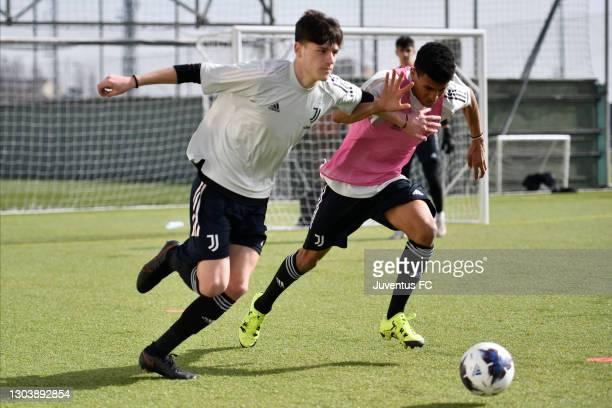 Juventus U17 on warm-up session at Juventus Center Vinovo on February 24, 2021 in Vinovo, Italy.