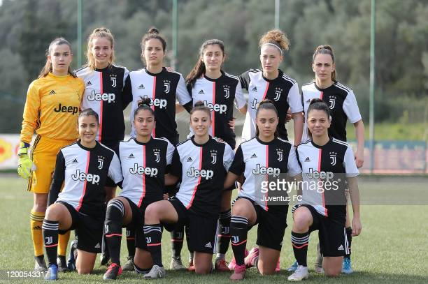 Juventus U19 women players pose before the Viareggio Women's Cup match between Juventus U19 and FC Internazionale U19 on February 13 2020 in Lucca...
