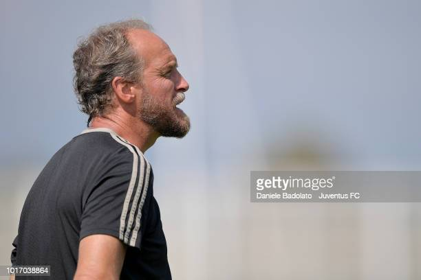 Juventus under23 coach Mauro Zironelli during a Juventus training session at JTC on August 15 2018 in Turin Italy