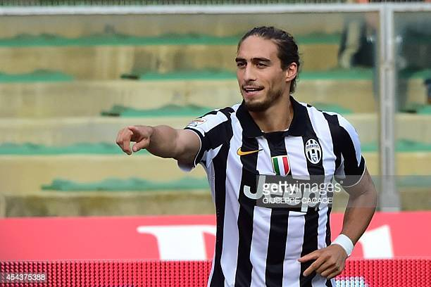 Juventus' Uruguayan defender Jose Martin Caceres celebrates after scoring a goal during the Serie A football match Chievo Verona vs Juventus at the...