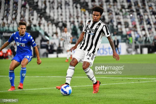 Juventus' US defender Weston McKennie challenges Empoli's Italian midfielder Samuele Ricci during the Italian Serie A football match Juventus vs...