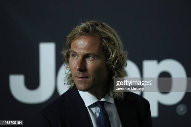 Juventus Vice Chairmen Pavel Nedved looks on during the Serie A match between Juventus and AS Roma on August 01, 2020 in Turin, Italy.