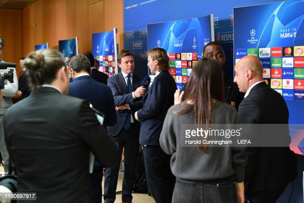 Juventus Vice President Pavel Nedved is interviewed following the UEFA Champions League 2018/19 Quarterfinal Semifinal and Final draws at the UEFA...
