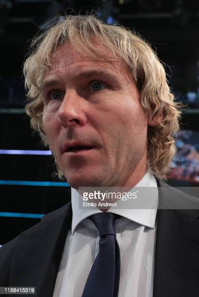 Juventus Vice President Pavel Nedved looks on during the Serie A 2019/2020 fixture unveiling on July 29, 2019 in Milan, Italy.