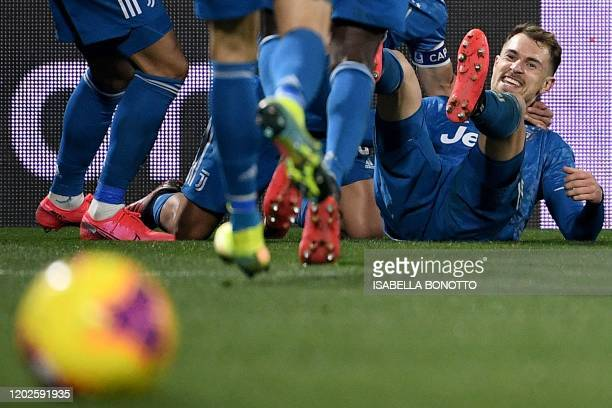 Juventus' Welsh midfielder Aaron Ramsey celebrates after scoring his team's second goal during the Italian Serie A football match SPAL vs Juventus on...