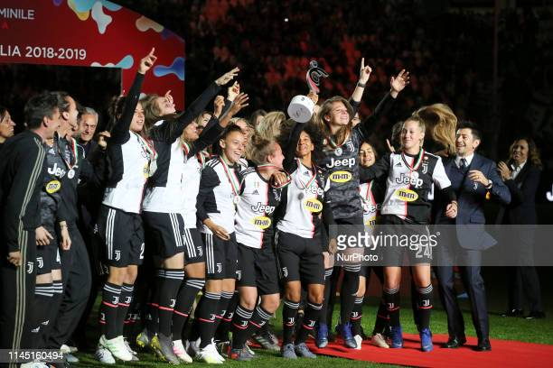 Juventus Woman players lifts the trophy of Scudetto during the victory ceremony on May 19 2019 at the Allianz Stadium in Turin