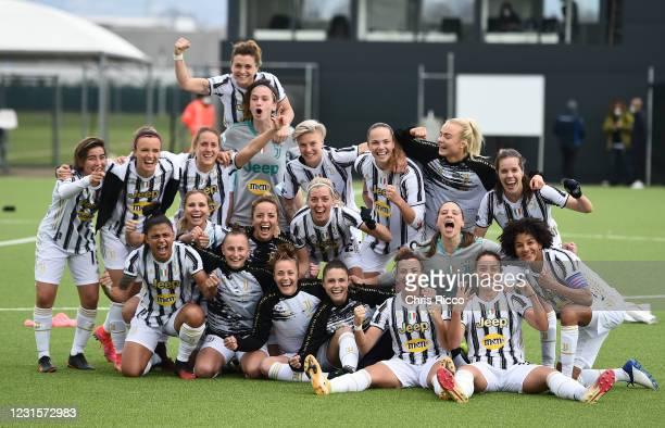 Juventus Women celebrate the win during the Women Serie A match between Juventus and AC Milan at Juventus Center Vinovo on March 7, 2021 in Vinovo,...