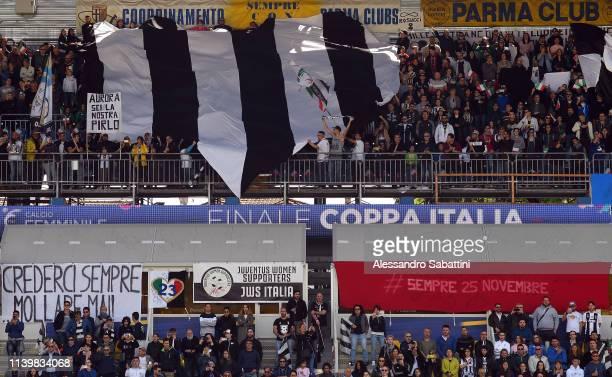 Juventus Women fans during the Women Coppa Italia Final match between Juventus Women and ACF Fiorentina Stadio Ennio Tardini on April 28 2019 in...