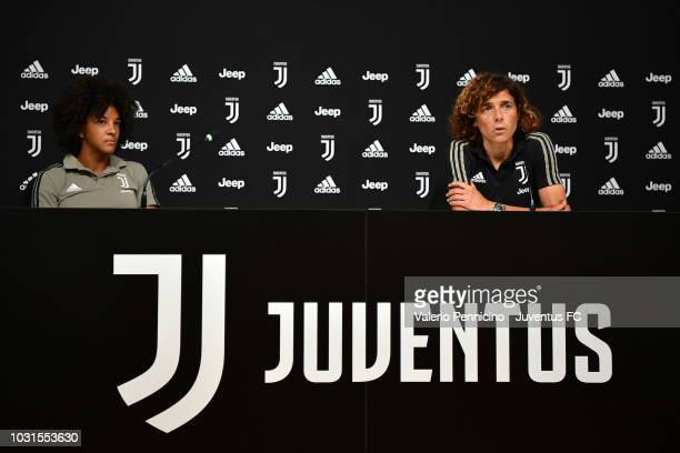 Juventus Women head coach Rita Guarino delivers a press conference at Juventus Center Vinovo on September 11, 2018 in Vinovo, Italy.