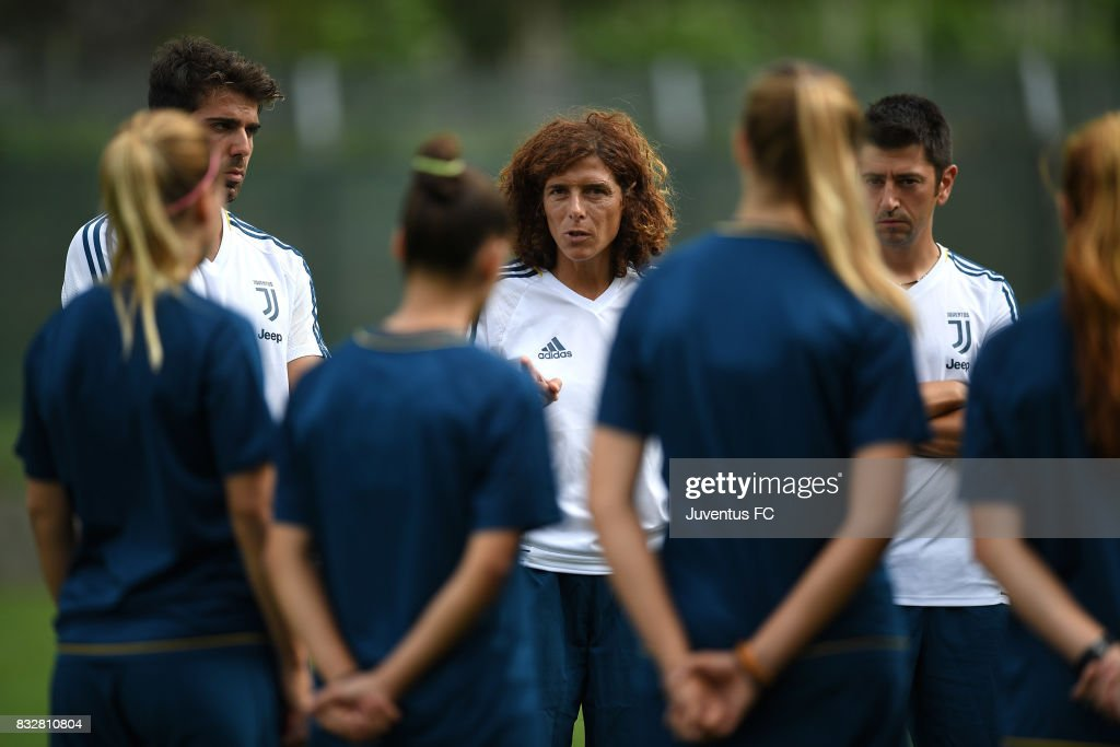 Juventus Women head coach Rita Guarino (C) issues instructions during a training session on August 16, 2017 in Aymavilles near Aosta, Italy.