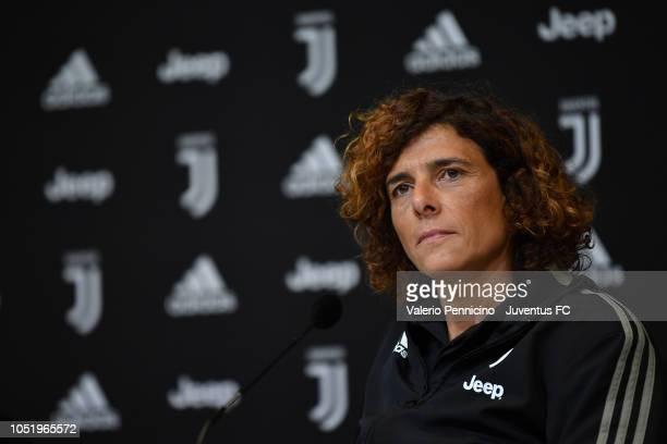 Juventus Women head coach Rita Guarino speaks to the media during a press conference at Juventus Center Vinovo on October 12, 2018 in Vinovo, Italy.