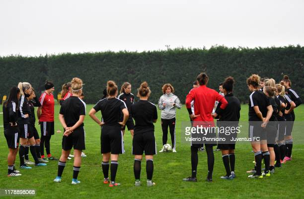Juventus Women head coach Rita Guarino talks with players during a training session at Juventus Center Vinovo on October 29 2019 in Vinovo Italy