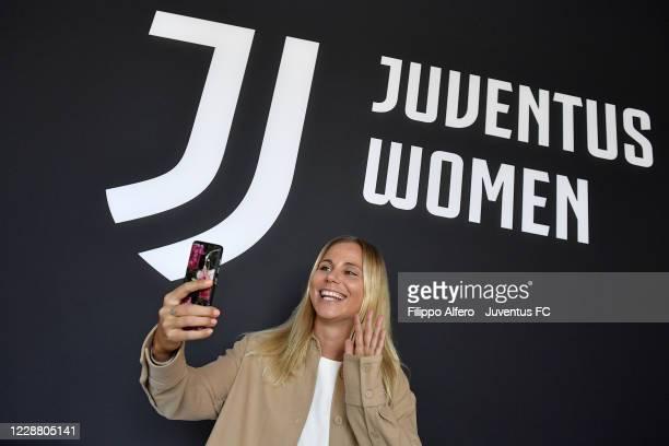 Juventus Women player Tuija Hyyrynen poses during a Twitter interview at Juventus Center Vinovo on September 30, 2020 in Vinovo, Italy.