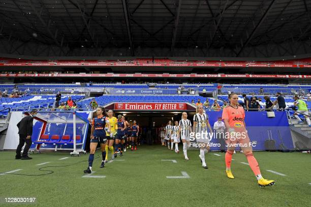Juventus Women players and Montpellier players enter the pitch during the friendly match between Montpellier Women and Juventus Women at Groupama...