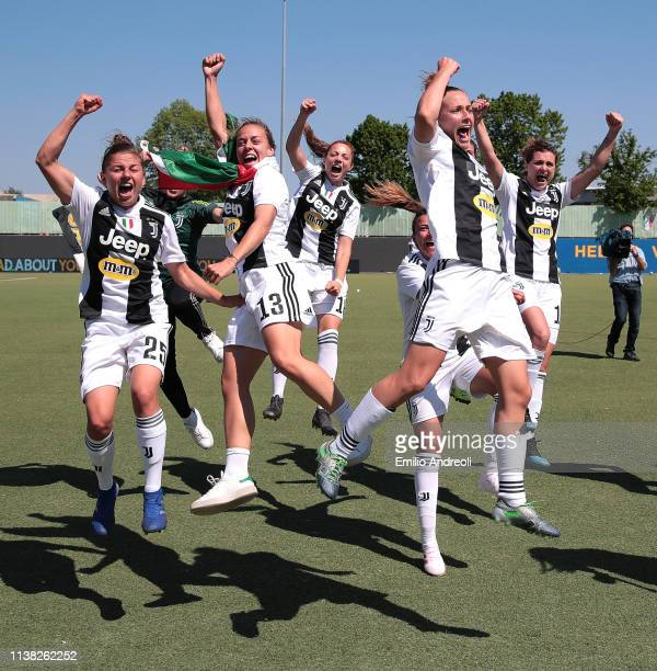 Juventus Women players celebrate after winning the Serie A Championship at the end of the Women Serie A match between Hellas Verona Women and...