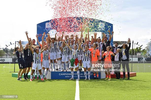 Juventus Women players celebrate the fourth successive scudetto during the Women Serie A match between Juventus and FC Internazionale at Juventus...