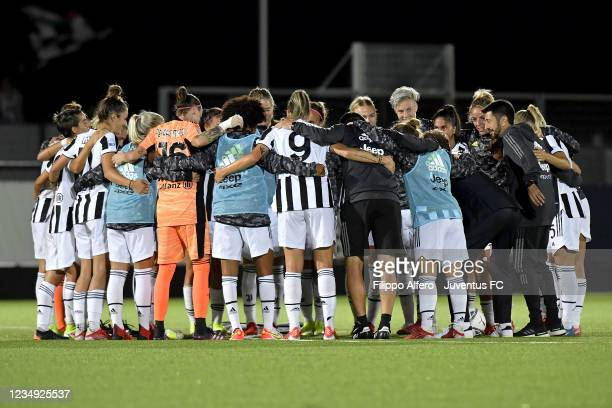 Juventus Women players celebrate the victory during the Women Serie A match between Juventus and Pomigliano at Juventus Center Vinovo on August 28,...