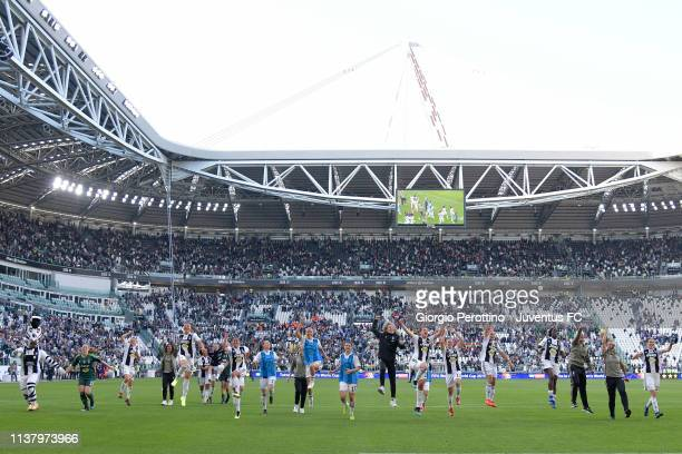 Juventus Women players celebrate their victory at the end of the Women Serie A match between Juventus and ACF Fiorentina at Allianz Stadium on March...