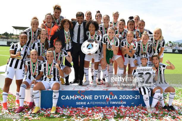Juventus Women players, President Andrea Agnelli and head coach Rita Guarino celebrate after beating FC Internazionale 5-0 to win the Women Serie A...