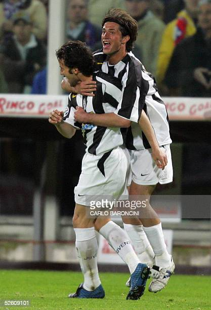 Juventus's Alessio Tacchinardi and Alex Del Piero celebrate Del Piero's equalizer for 11 against Fiorentina during their Italian Championship match...