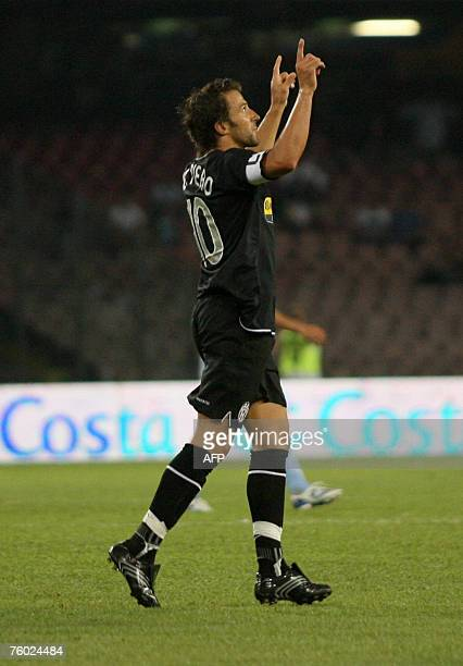 FC Juventus's Alex del Piero gestures after scoring during the Moretti Trophy at San Paolo Stadium aginst SSCNapoli's in Naples Italy 8 August 2007...