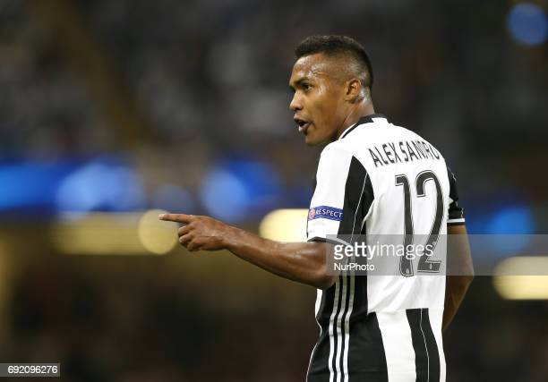Juventus's Alex Sandro reacts during the UEFA Champions League Final between Juventus and Real Madrid at National Stadium of Wales on June 3 2017 in...